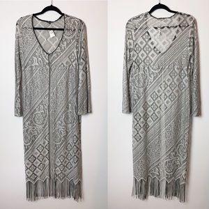 Arden B Vintage Delicate Crochet Fringe Kimono M